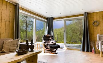 riverside cabin, cabin river, visit stranda cabin, fjord norway accommodation